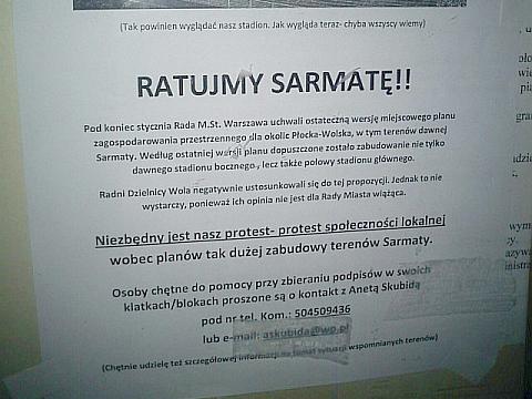 Wie¿owce stan± na stadionie Sarmaty?