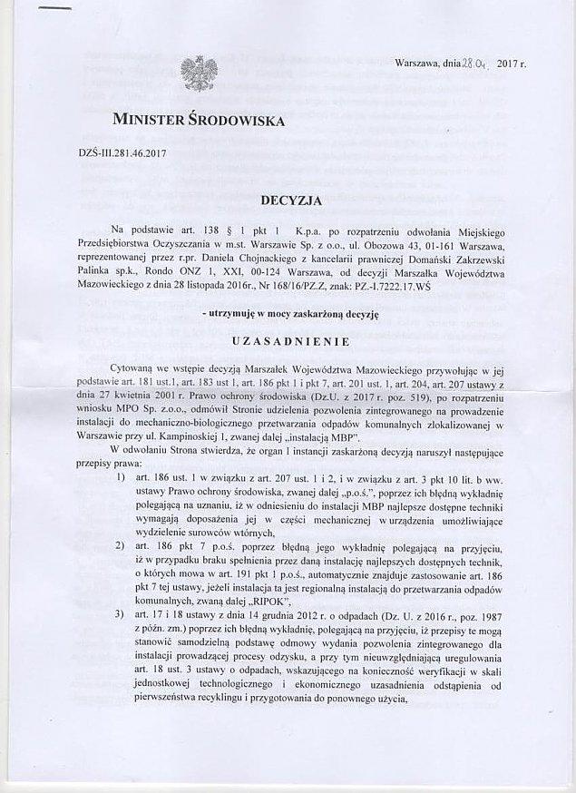 Minister Szyszko kontra kompostownia MPO