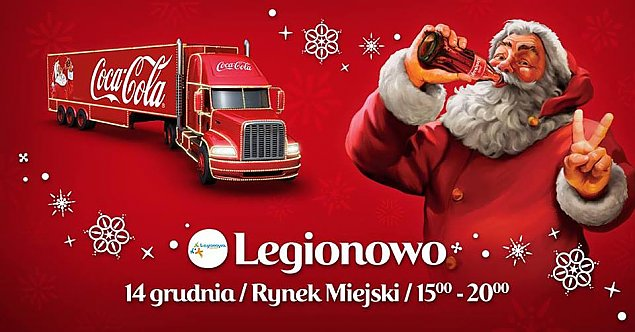 ¦wi±teczna ciê¿arówka Coca-Coli na legionowskim rynku