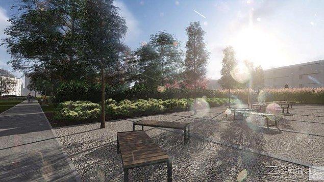 Oto nowy park przy Perzyñskiego. Strefa relaksu i kurtyna wodna