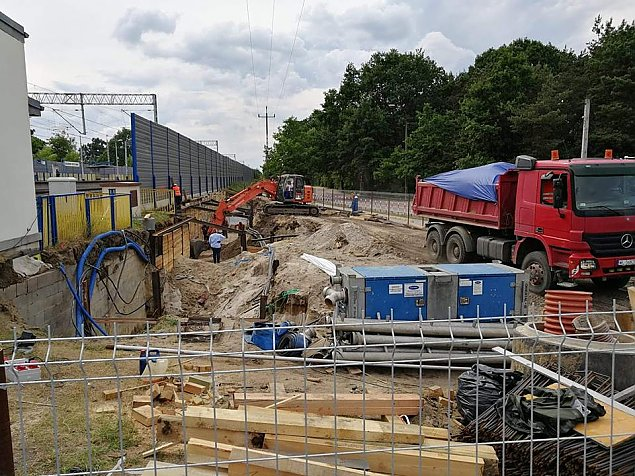 Tunel na PKP Przystanek w przebudowie