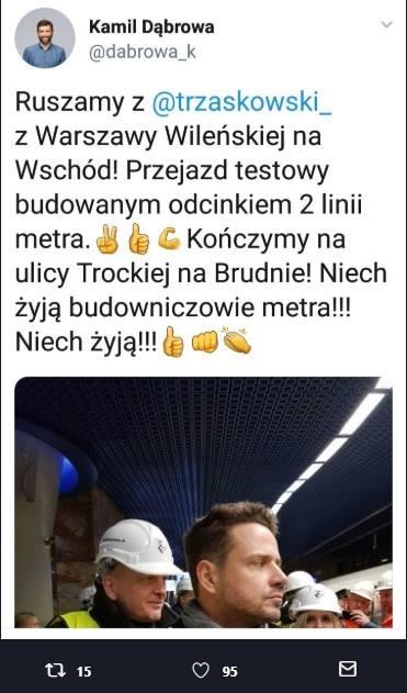 """""""Z Dworca Wile�ska do Trockiej na Brudnie"""". Ju� testuj� metro"""