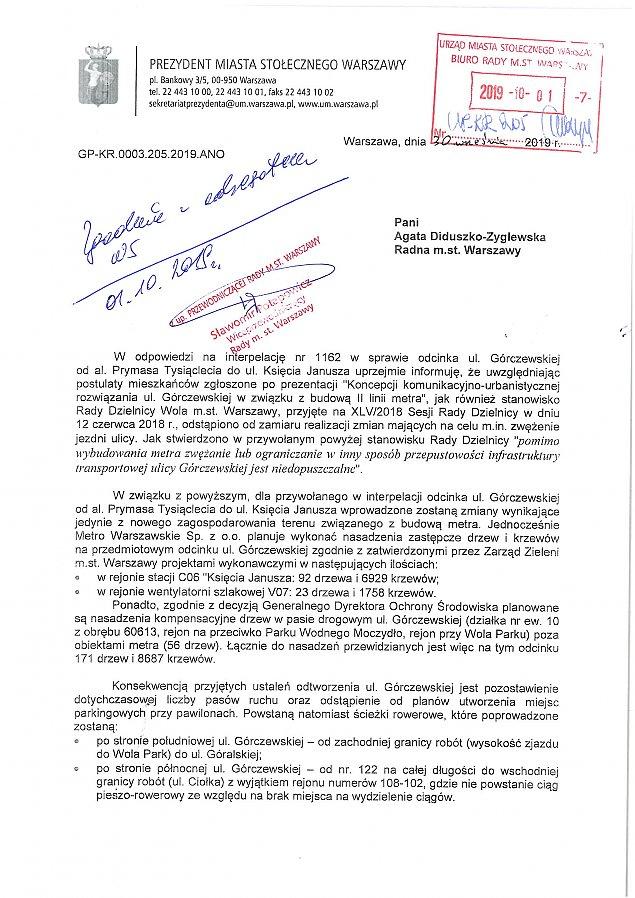 """Wiceprezydent: """"Nie zw�amy G�rczewskiej"""""""