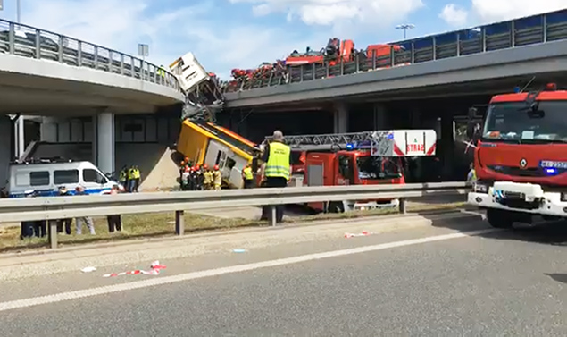 Autobus wypad� z mostu Grota