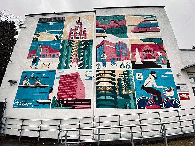 Ca³y Wawer na jednym muralu. Rozpoznacie budynki?
