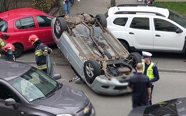 Pijany kierowca skasowa³ piêæ samochodów, dachowa³ i ucieka³