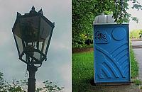 Stylizowane latarnie i... toi-toi dla M�ocin