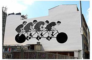 Cykli¶ci na Ogrodowej. Nowy wolski mural