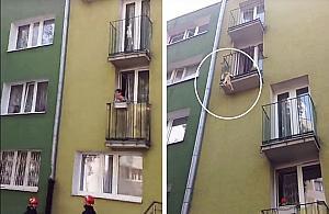 Akcja stra¿aków na Wrzecionie. Pies wisia³ na balkonie