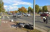 Uwaga na motocykle. Powa�ny wypadek na Bielanach